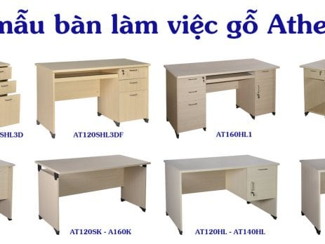 8 mẫu bàn làm việc nhân viên gỗ Athena